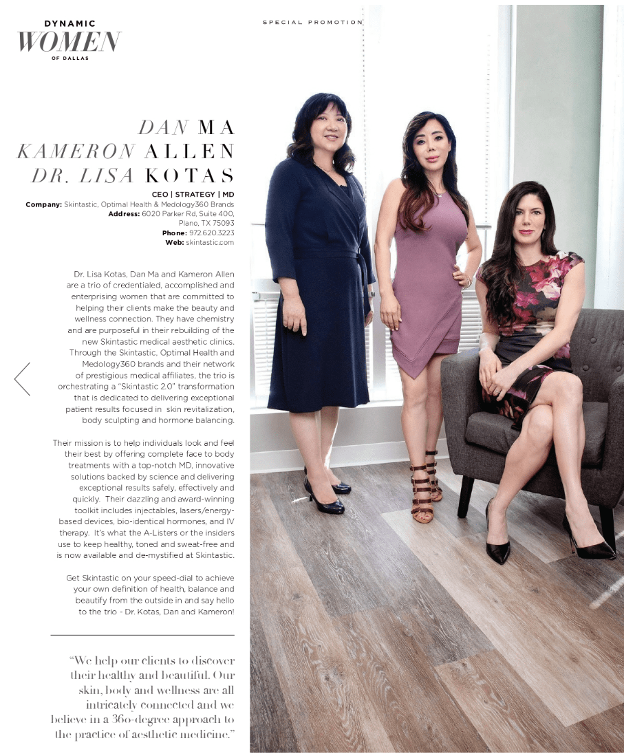 Skintastic in the Media: Dr. Lisa Kotas, Kameron Allen, and Dan Ma have been featured in Modern Luxury's November 2019 edition as Dynamic Women of Dallas!